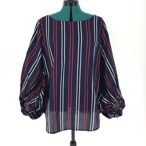 Cabi Clothing Cotton Flag Blouse, #5516, Large